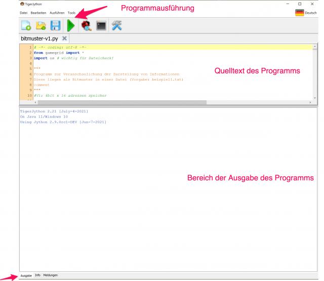 Programm laden - NUR über Datei -> Öffnen möglich Ausgabenbereich möglichst groß! Trennlinie nach oben ziehen
