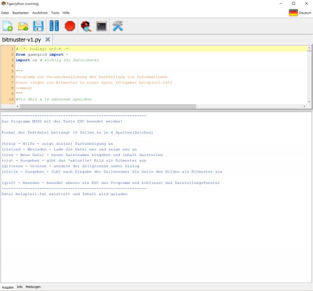 Starten des Programms bitmuster-v1.py