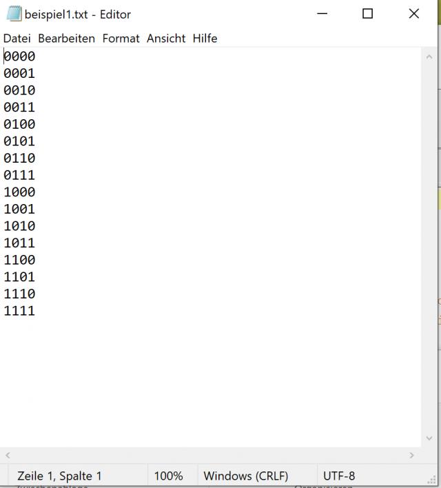 Die Beispieldatei kann in jedem beliebigen Texteditor geöffnet (und bearbeitet) werden
