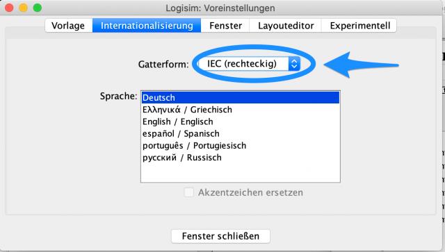 Gatterform IEC auswählen